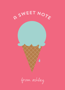 Ice Cream Cone Note Card 3.75x5.25 Folded Card