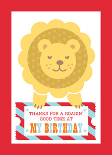 Cute Circus Lion Thank You 3.75x5.25 Folded Card