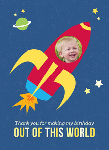 Rocket Ship Thank You 3.75x5.25 Folded Card