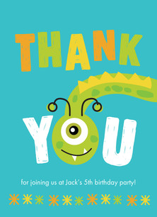 Monster Bash Thank You 3.75x5.25 Folded Card