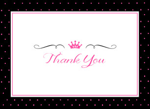 Baby Girl Pink and Black Thank You 5.25x3.75 Folded Card