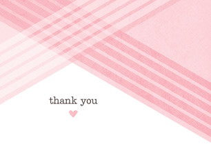 Pink Diagonal Thank You 5.25x3.75 Folded Card