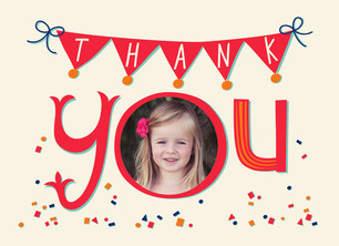 Birthday Confetti Thank You 5.25x3.75 Folded Card