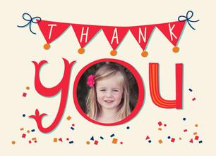 Birthday Confetti Thank You 5.25x3.75 Folded Card