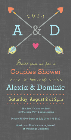 Couples Shower Initials with Arrows 4x8 Flat Card