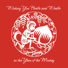 CNY Year of the Monkey 4.75x4.75 Folded Card