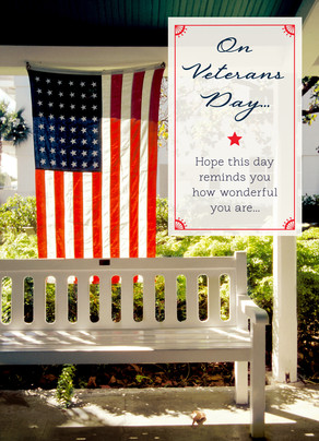 American Flag and Bench 5x7 Folded Card