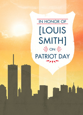 Patriot Day Memorial Badge with Skyline 5x7 Folded Card