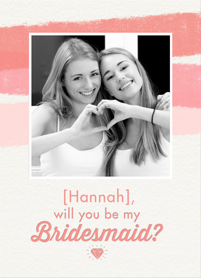 Pink Bridesmaid Photo Card 5x7 Folded Card