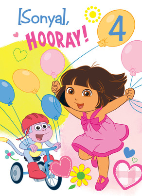 Dora & Boots with Balloons 5x7 Folded Card