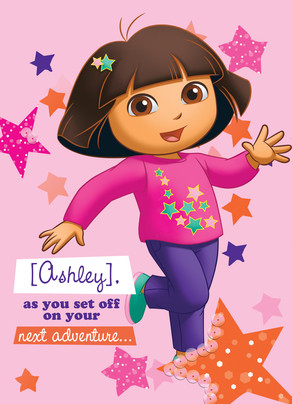 Dora with Stars 5x7 Folded Card