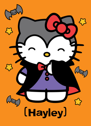 Hello Kitty in Vampire Costume 5x7 Folded Card