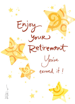 Gold Stars Retirement 5x7 Folded Card