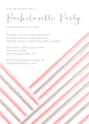 Simple Stripes Bachelorette Party 5x7 Flat Card