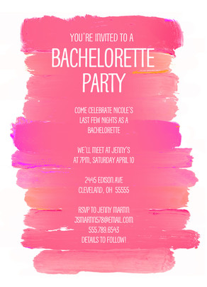Pink Watercolor Bachelorette Party 5x7 Flat Card