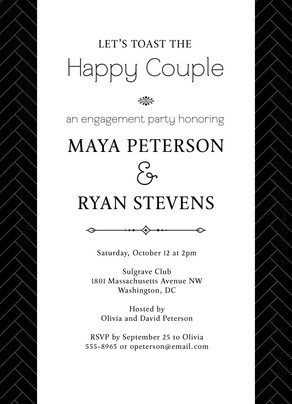 Black & White Engagement Party 5x7 Flat Card