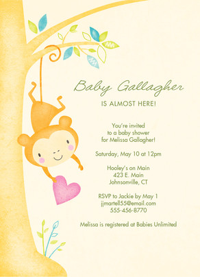 Baby Shower Monkey Invitation 5x7 Flat Card