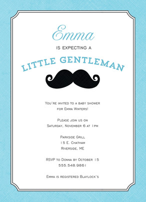 Baby Boy Little Gentleman Mustache 5x7 Flat Card