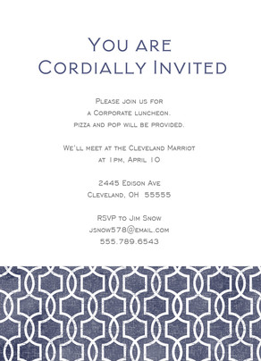 Clean Pattern Invitation 5x7 Flat Card