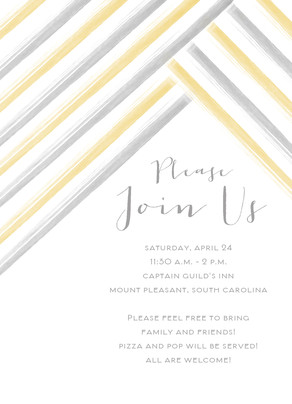 Watercolor Stripes Invitation 5x7 Flat Card
