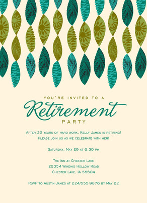 Retirement Invite with Leaf Design 5x7 Flat Card
