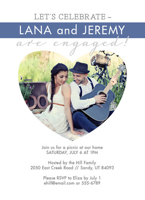 Heart Photo Engagement Party 5x7 Flat Card