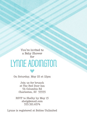 Baby Shower - Blue Diagonal Lines 5x7 Flat Card