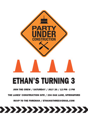 Construction Sign Party Invitation 5x7 Flat Card