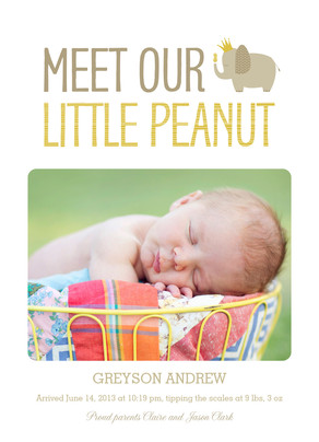 Our Little Peanut Announcement 5x7 Flat Card