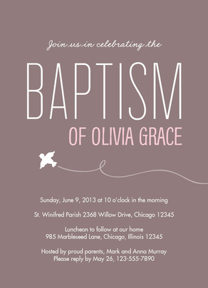 Baptism - Gray with Pink Name 5x7 Flat Card