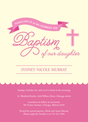Baptism - Pink Ribbon with Cross 5x7 Flat Card
