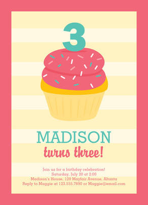 Pink Cupcake Birthday Invitation 5x7 Flat Card