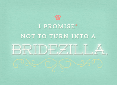 Bridezilla on Mint 7x5 Folded Card