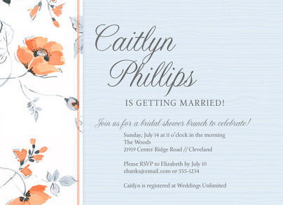 Traditional Floral Bridal Shower 7x5 Flat Card