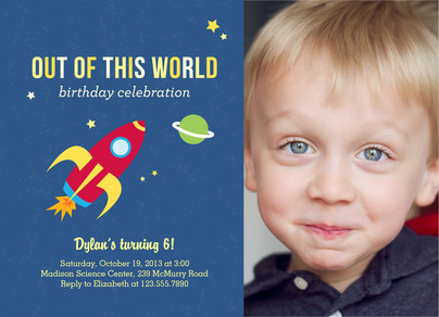 Rocket Ship Birthday Invitation 7x5 Flat Card