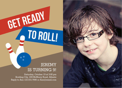 Bowling Party Invitation 7x5 Flat Card