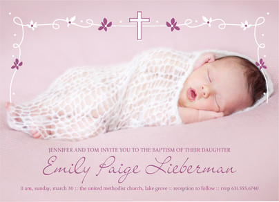 Baptism - White & Purple Line Art Invite 7x5 Flat Card