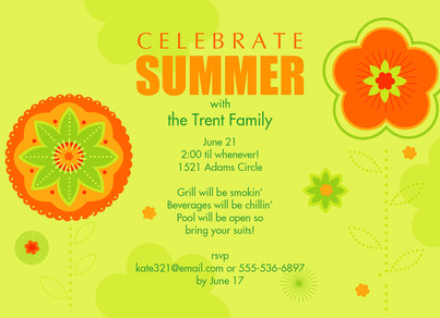 Summer Invite - Orange & Green Flowers 7x5 Flat Card