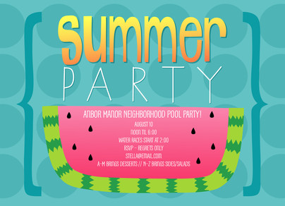 Summer Party Watermelon Design 7x5 Flat Card