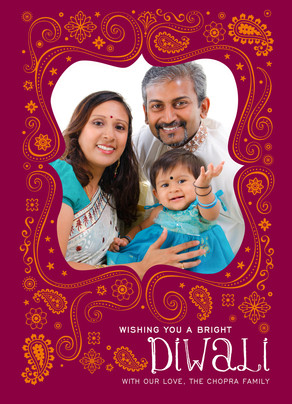 Diwali Photo Card with Paisley 5x7 Flat Card