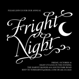 Fright Night - White Lettering on Black 4.75x4.75 Flat