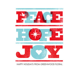 Peace, Hope, Joy Letterpress Design 4.75x4.75 Folded Card