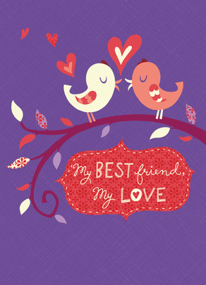 Two Birds with Hearts on Purple 5x7 Folded Card