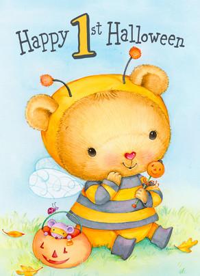 1st Halloween - Bear in Bee Costume 5x7 Folded Card