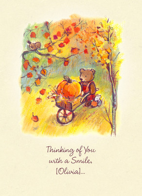 Bear with Pumpkin in Wheelbarrow 5x7 Folded Card