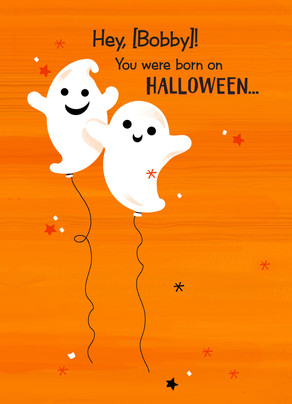 ghost halloween birthday balloons halloween happy birthday card