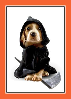 Puppy in Grim Reaper Costume 5x7 Folded Card