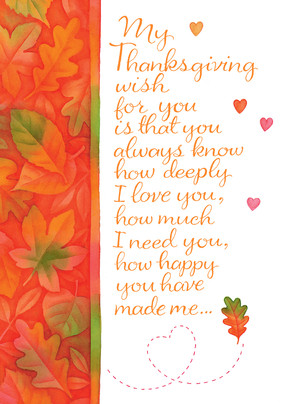 Thanksgiving Leaves and Hearts 5x7 Folded Card