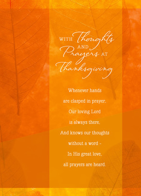 Thanksgiving Prayer on Orange Overlay 5x7 Folded Card