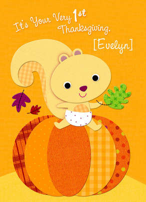 1st Thanksgiving - Cute Squirrel 5x7 Folded Card